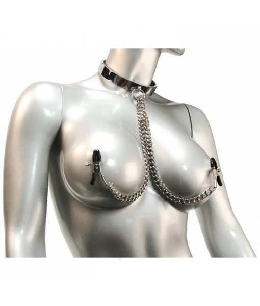 Chrome Slave Collar with Nipple Clamps - SmallMedium